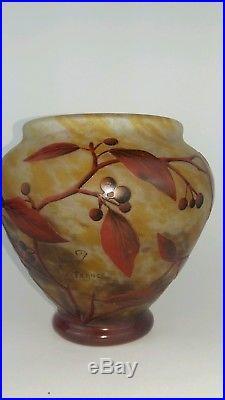 DAUM vase boule à decor de baies émaillées début XX