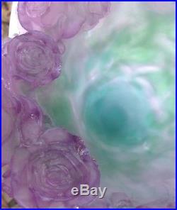 Daum France Grand Vase Cristal Fleurs De Roses Bicolore Art Floral