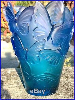 Daum France Pâte de verre Vase Papillon N36 24x18x14cm 2,7kg Neuf Prix1500Eur