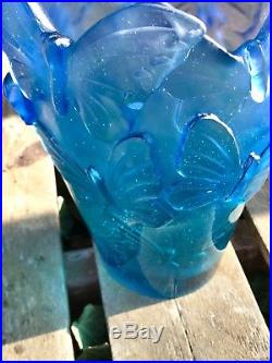 Daum France Pâte de verre Vase Papillon No 24x18x14cm 2,7kg Neuf. N°76