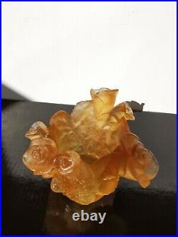 Daum France mini vase roses en pâte de verre