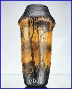 Daum Nancy Grand Vase au Paysage Lacustre Pâte de Verre Gravé ART NOUVEAU
