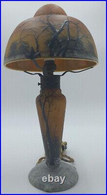 Daum Nancy Lampe Champignon Paysage Hivernal