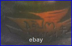 Daum Nancy Paysage Lacustre Rouge Vase Daum Gallé Legras