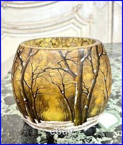 Daum Nancy Petit Vase A Decor De Paysage Enneigé, Pate De Verre Art Nouveau