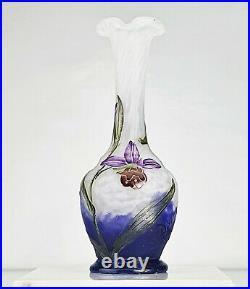 Daum Nancy Précieux Petit Vase Ophrys Abeille &Toiles d'Araignées ART NOUVEAU