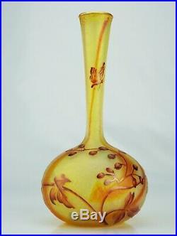 Daum Nancy Précieux Vase Papillon Aubépine Verre Coloré Irisé Gravé Émaillé