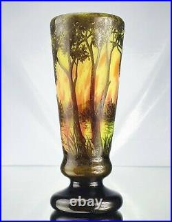 Daum Nancy Sublime Vase Paysage Lacustre Pâte de Verre Gravé Art Nouveau