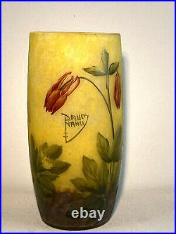 Daum Nancy / Vase En Verre Gravé Multicouche A Decor D' Ancolie / Signé