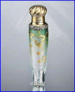 Daum Nancy Vase Flacon Décor de Mûres Verre Gravé Émaillé Argent Art Nouveau