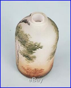 Daum Nancy Vase Miniature Paysage de Sologne Verre Gravé Émaillé Art Nouveau