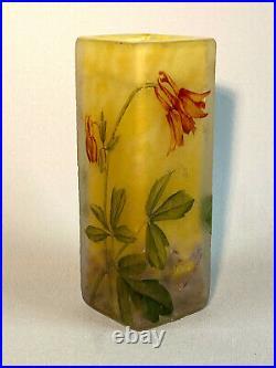 Daum Nancy / Vase Parallélépipédique En Verre Camé A Deco De Fleurs D'orchidée