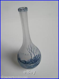 Daum Nancy rare vase miniature en pate de verre décor de voiliers et paysages