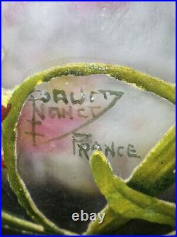 Daum nancy Coupe Polylobée A Decor de fleurs Pate De Verre Art Nouveau