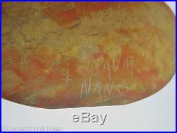 Daum nancyjoli vase ancien en pate de verre aux coloris jaune et orange. Parfait