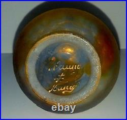 Daum vase Art nouveau miniature Chardon Rouge orange givré travail acide émaillé