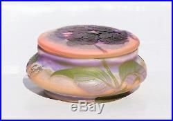 EMILE GALLÉ Belle Bonbonnière Vase Hydrangea Pâte de Verre Gravé ART NOUVEAU