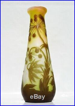 EMILE GALLÉ Grand Vase à décor Ombelles Pâte de Verre Gravé ART NOUVEAU 30cm