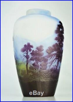 EMILE GALLÉ Précieux Vase Ligne Bleue des Vosges Pâte de Verre ART NOUVEAU
