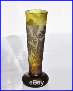 EMILE GALLÉ Rare Vase PAPILLON FOUGÈRE DU JAPON Pâte de Verre Gravé ART NOUVEAU