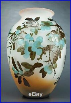 EMILE GALLÉ Rare Vase à décor de Prunellier Pâte de Verre Gravé ART NOUVEAU