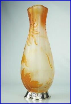 EMILE GALLÉ Rare Vase décor Chrysanthème Japon Pâte Verre Gravé ART NOUVEAU