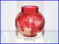 EMILE GALLÉ Rare Vase décor Vigne Vierge Pâte de Verre Gravé Poli ART NOUVEAU