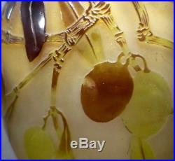 EMILE GALLE Vase à décor d'olives -daum, lalique, argy rousseau, walter, schneider