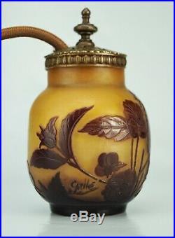 EMILE GALLÉ Veilleuse Vase Lampe décor Pensée Pâte de Verre Gravé ART NOUVEAU
