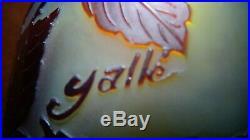 EXCEPTIONNEL, GRAND vase en pâte de verre gravé à l'acide signé Gallé