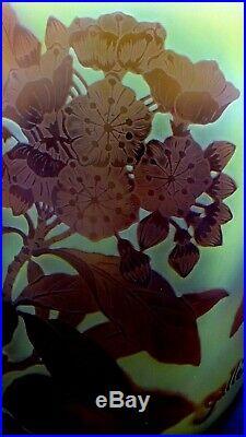 EXCEPTIONNEL, Splendide vase en pâte de verre gravé à l'acide signé Gallé