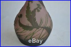 Edmond RIGOT Vase Soliflore Verre multicouche gravé à l'acide Signé