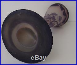 Emile GALLE (1846-1904) Authentique Grand Vase Verre Gravé Acide Glycines 1900
