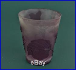 Emile GALLE (1846-1904) Petit Vase en Pâte de Verre Gravé Acide Nancy vers 1900