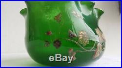 Emile GALLE Ancien VASE Circa 1895 Cristallerie NANCY Fleurs Emaillees Signe Art