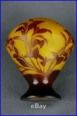 Emile Gallé (1846 / 1904) Vase Pâte de verre multicouche floral authentique 16cm