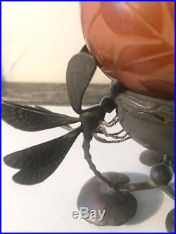 Emile Gallé (1904-1936) Rarissime Veilleuse Aux Libellules et feuilles nenufar