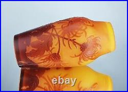 Emile Gallé Beau Vase Chrysanthème du Japon Pâte de Verre Gravé ART NOUVEAU