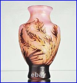 Emile Gallé Beau Vase Fonds Marins Pâte de Verre Gravé ART NOUVEAU