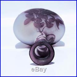 Emile Gallé Nancy Vase Soliflore Glycine En Pte De Verre Gravé Art Nouveau
