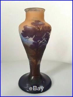 Emile Gallé Nancy, joli vase paysage montagnes Art Nouveau