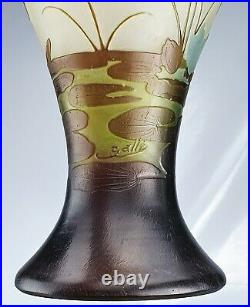 Emile Gallé Sublime Vase Iris & Nénuphars Pâte de Verre Gravé ART NOUVEAU