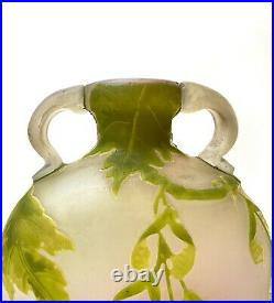 Emile Gallé Vase Gourde A Hanses, Pate De Verre Art Nouveau