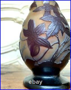 Émile Gallé Vase Soliflore A Decor De Clematites, Pate De Verre Art Nouveau