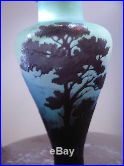 Emile Gallé authentique vase balustre art nouveau