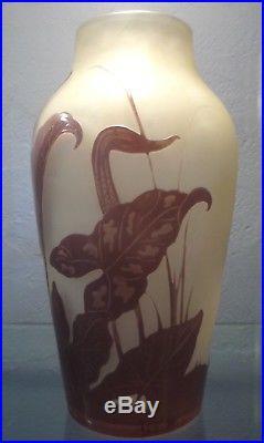 Emile Gallé vase art nouveau dégagé à l'acide dam-lalique-schneider