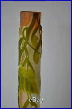 Emile Gallé vase soliflore verre dégagé à l'acide art nouveau fleurs glass