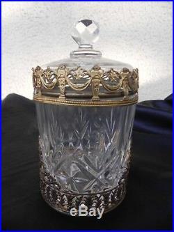 Empire, pot à coton en cristal taillé monture en bronze couronne laurier cygne