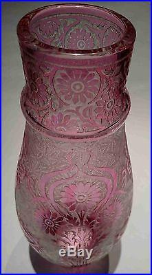 Enorme & Rare Superbe Vase en Cristal de Baccarat & Décor dégagé à l'acide 41 cm