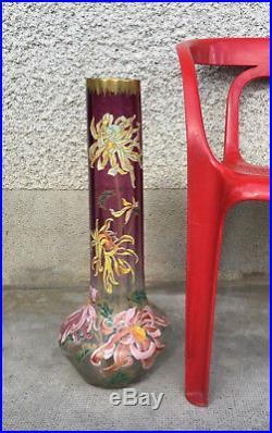 Énorme vase Legras Montjoie verre emaillé enamel glass art nouveau fleur